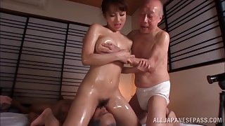 Oiled Japanese chip divide up fucked by two guys in olden days - Mao Kurata