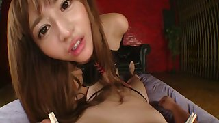 Bubble seat Japanese Nozomi Aso enjoys having sex in latex