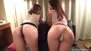 Two Japanese sex bombs get fucked by one very lucky dude. HD