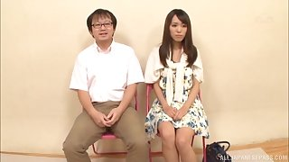 Skinny Japanese girl gets her pussy fingered with an increment of gives a blowjob