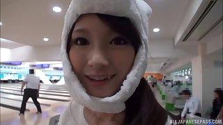 Amazing POV video of foxy Japanese Rinon Miyazaki giving a blowjob