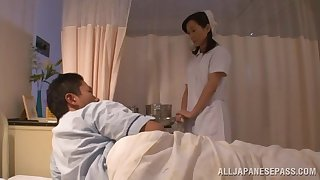 Japanese nurse takes off her small-clothes with regard to ride a moved lion's share