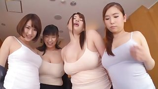 Very lucky man sticks his dick in four gungy pussies of Japanese girls