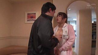 Asian nurse Kiritani Nao in uniform gives a nice blowjob. POV