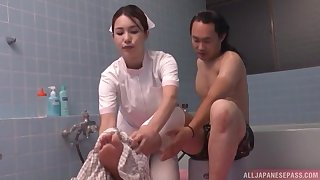 Handsome nurse from Japan enjoys having sex in the matter of a lucky patient
