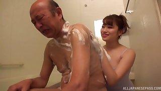Younger Asian chick Yukimi Chinatsu enjoys pleasuring an older dick