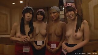 Kinky Japanese chicks band together in the matter of pleasure one lucky distance from