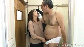 Asian beauty pumps senior inches involving her bush