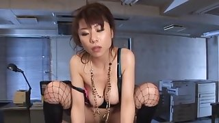 Kinky Asian babe gives head and rides a fat dick in the office