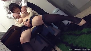 Fetching office babe from Japan in amateur XXX cam scenes