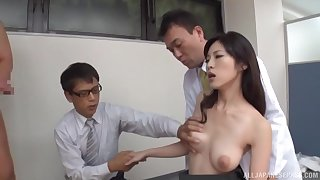 Japanese soaked there sperm by office colleagues