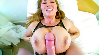 massive boobs Kianna Dior makes strong cock disappears between her bombs