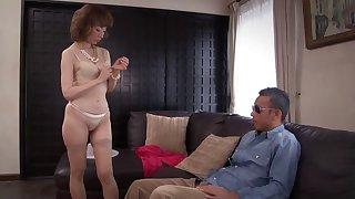 Classy mature Asian girl excites his dick and takes it inside her
