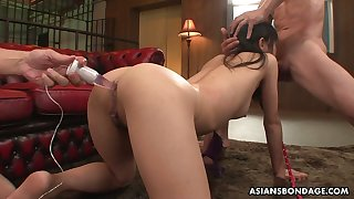 Three hot blooded Asian dudes fuck all holes of Japanese hooker Mika Shindo