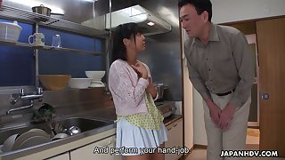 Zealous Tomoyo Isumi is Japanese blowlerina who stands on knees with respect to give BJ